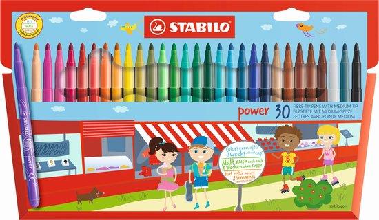 Afbeelding van STABILO Power - Viltstift - Tot 8 Weken Zonder Dop - Etui Met 30 Kleuren