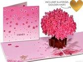 Popcards popupkaarten - Sakura Kersenbloesem roze Kersenboom wenskaart Romantiek Romantisch Liefde Verliefd Verloofd Getrouwd Valentijn Valentijnskaart Valentijnsdag Verjaardag Felicitatie Bloemen pop-up kaart 3D wenskaart