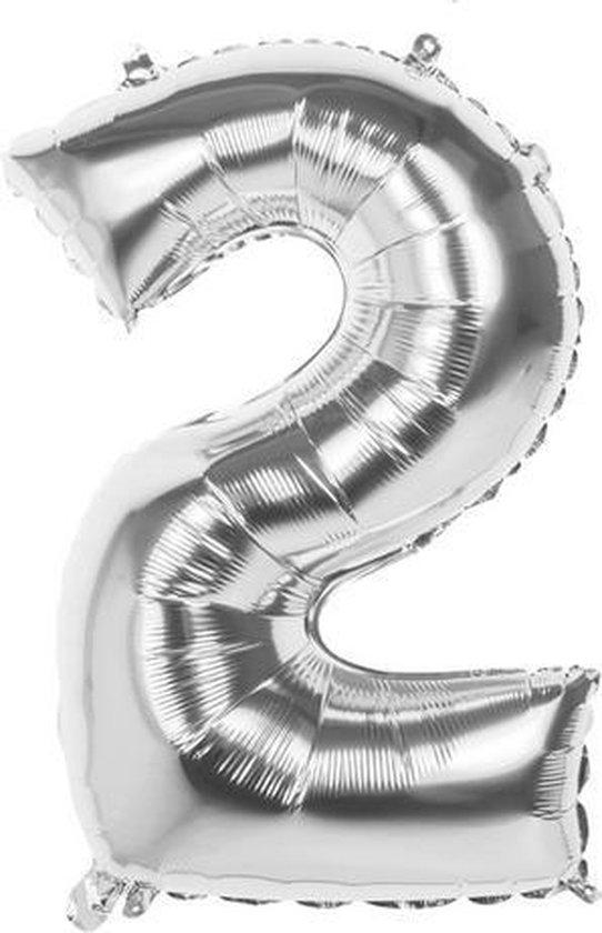 2 Jaar Folie Ballonnen Zilver- Happy Birthday - Foil Balloon - Versiering - Verjaardag - Jongen / Meisje - Feest - Inclusief Opblaas Stokje & Clip - XXL - 115 cm
