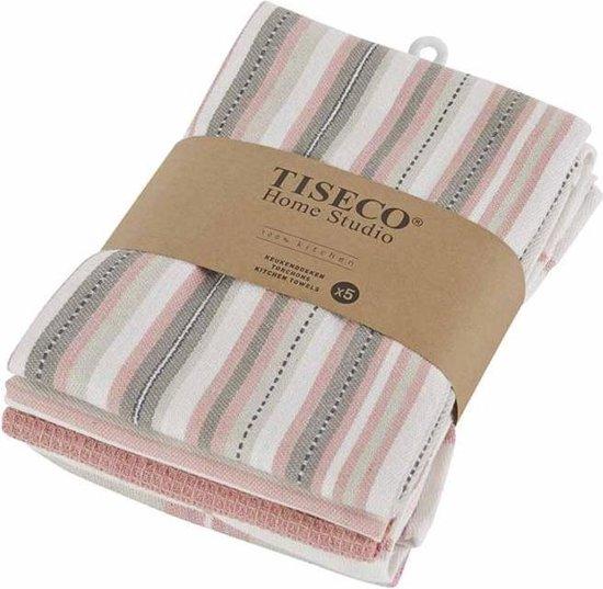 Theedoeken set van 5 - Verschillende patronen - 50x70 cm - Roze