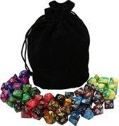 Polydice set voordeel - 50 delig | 7 sets van 7 dobbelstenen (49 stuks) van zeer hoge kwaliteit | Inclusief gratis velours dice bag / bewaarzakje |dungeons and dragons dnd dice | D&D Pathfinder RPG| Polyhedral dice voordeelset / megapack / mega set