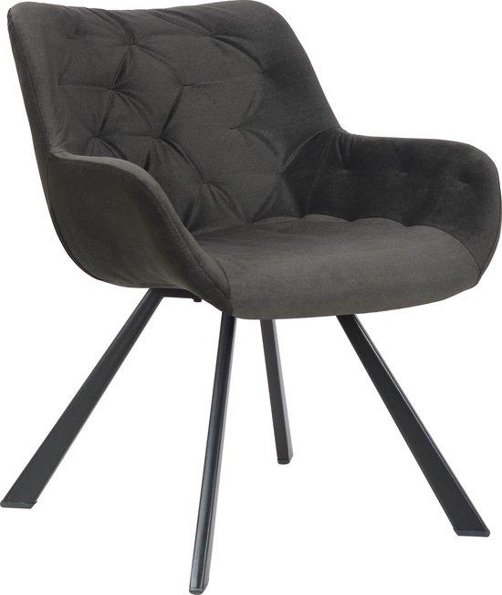Alora Stoel Jake zwart - Velours - relaxstoel - fauteuil - eetkamerstoel