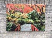 Tuinschilderij canvas rode Japanse brug - tuin decoratie - tuinposter - tuinposters buiten - tuinschilderij