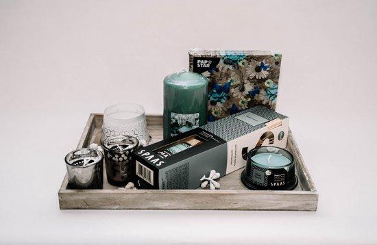 Cadeaupakket kaarsen-geurstok-servetten-grijs-smaragdgroen-(Luxury) - Kerst pakket - Kerst cadeaupakket - Kerst cadeau - Nieuwjaar pakket -Nieuwjaar cadeaupakket - Nieuwjaar cadeau - cadeaupakket Kerst - cadeaupakket Nieuwjaar