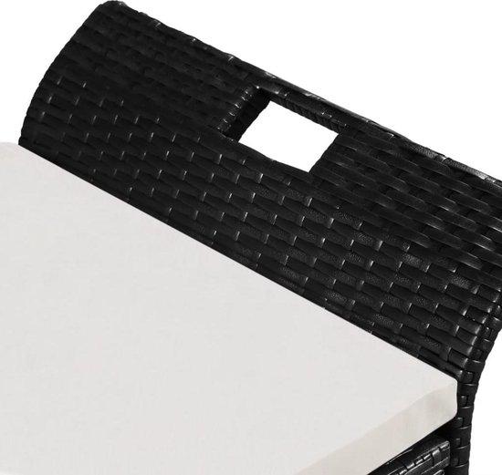 vidaXL Opbergbank met kussen 138 cm poly rattan zwart