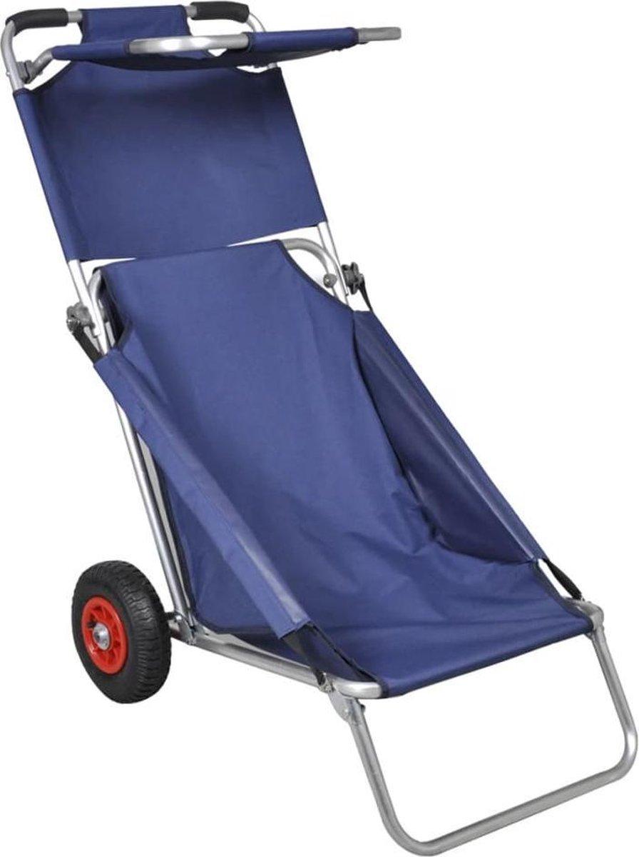 vidaXL - Tuinstoel Draagbare 3-in-1 strandstoel met zonnedak/beach trolley/strandtafel (blauw)