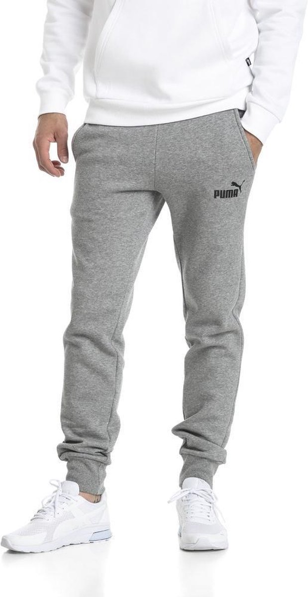 PUMA ESS Logo Pants FL cl Broek Heren Medium Gray Heather Maat S