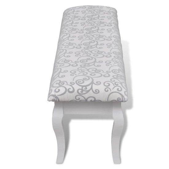 vidaXL - Poef Gestoffeerde poef / tweezits toilettafel WIT 110 cm - vidaXL