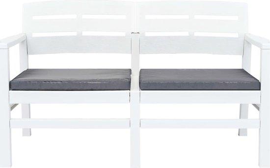 vidaXL Tuinbank tweezits met kussens 133 cm kunststof wit