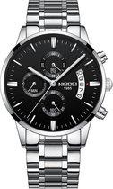 NIBOSI - Heren horloge - Luxe zilver zwart design - Ø 42 mm - Roestvrij staal