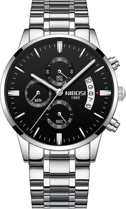 NIBOSI Horloges voor mannen - Luxe Zilver Zwart Design - Heren Horloge - Ø42