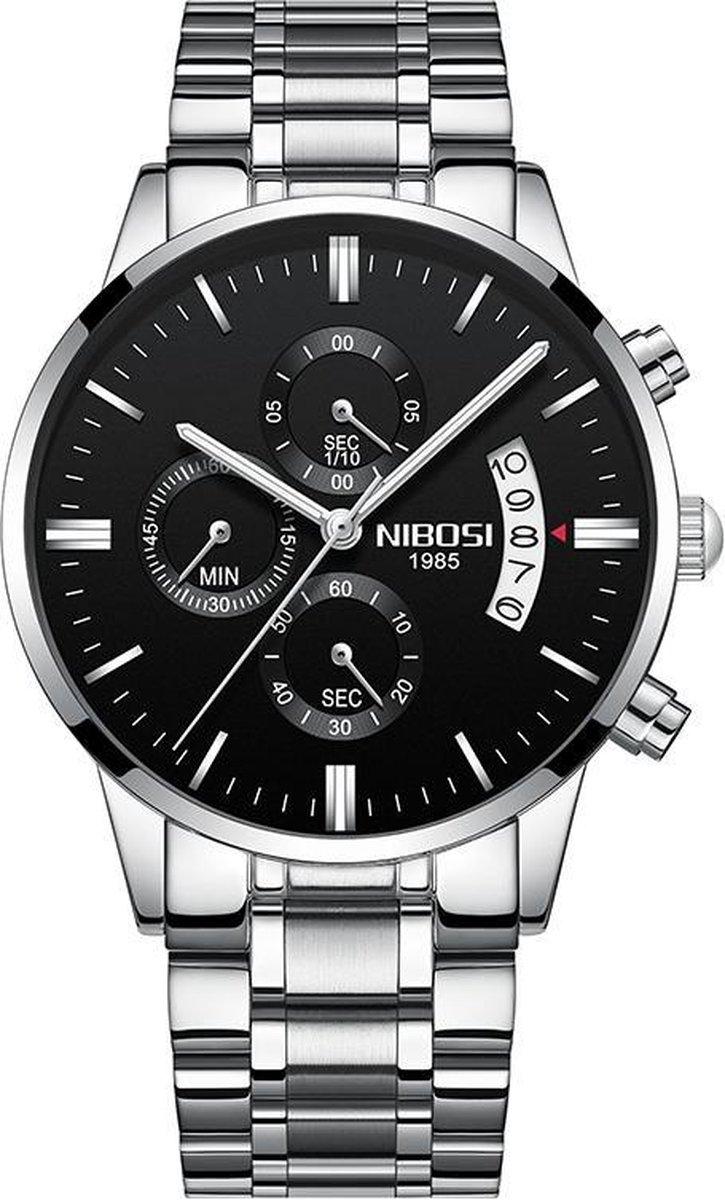 NIBOSI Horloges voor mannen - Luxe Zilver Zwart Design - Heren Horloge -  42