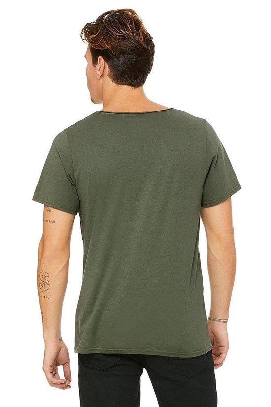 Senvi Wide Raw Neck T-shirt - Olive