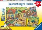 Ravensburger puzzel Boerderij - Drie puzzels - 49 stukjes - kinderpuzzel