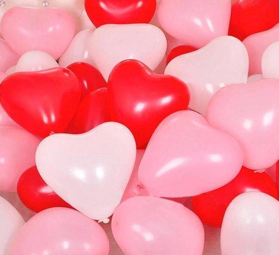 Ballonnen set hartjes   18 stuks   Rood - wit - roze   moederdag   huwelijk   valentijn