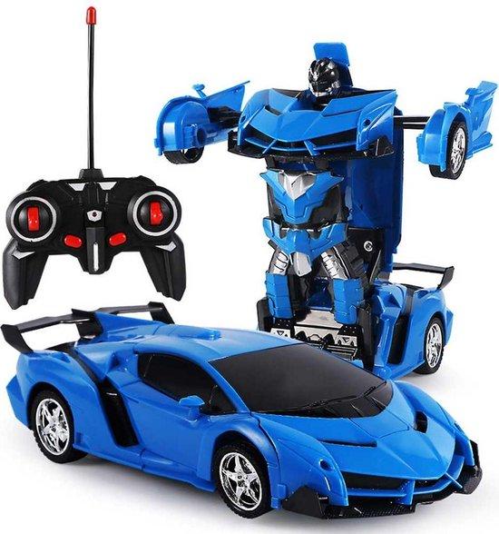 Huntex RC transformerende auto/robot - 2 in 1 - Afstandsbestuurbare Auto - Gratis Batterijen - Blauw - Lamborghini - Neonlicht - Radiografische - Speelgoed Auto