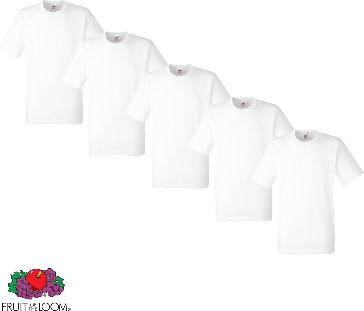 5 Pack Fruit of the Loom American Heavy T-shirts ronde hals maat L