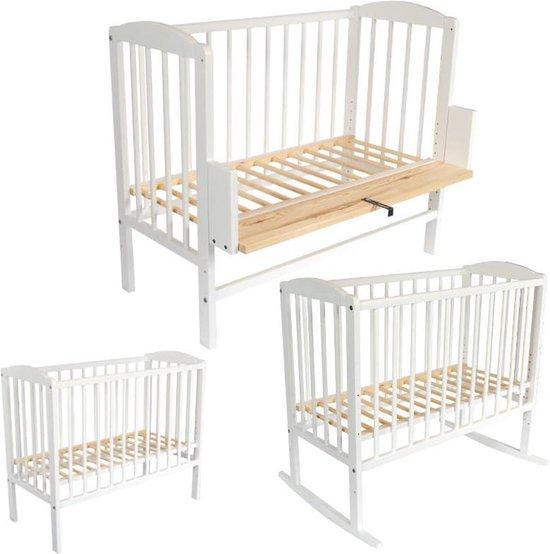 Co-sleeper - wieg - babybed - 90 x 40 cm met matras vurenhout