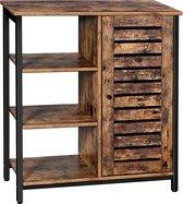 VASAGLE houten badkamerkast - Vintage design kast met 3 planken en een opslagruimte - 70cm x 30cm x 81cm