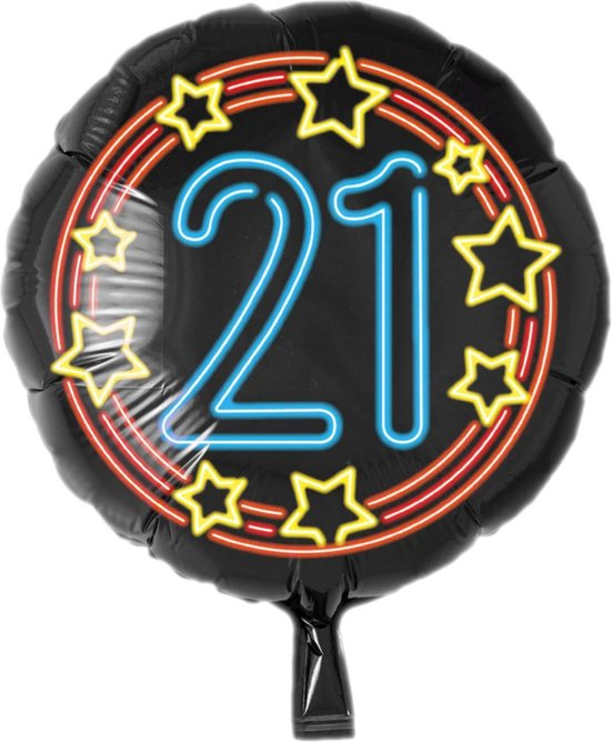 Folieballon - 21 Jaar - Neon - 43cm - Zonder vulling