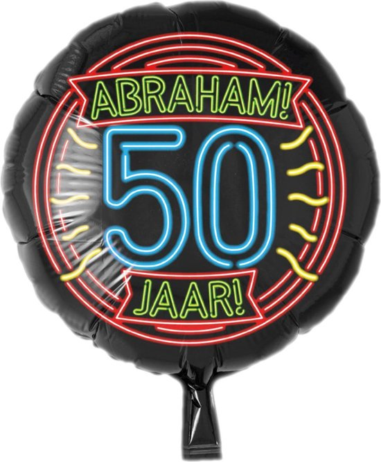 Folieballon - 50 Jaar - Abraham - Neon - 43cm - Zonder vulling
