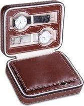 Draagbare horloge opberg box met 4 compartimenten. Reis horloge doos, synthetische lederen horloge etui met rits. Bruin.