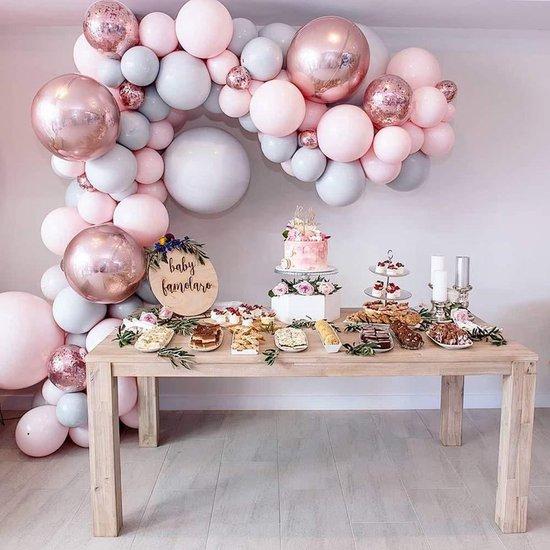 Luxe Ballonnen Boog Macaron Roze Grijs Rosé - 87 stuks - Confetti Heliumballonnen -  Bruiloft Verjaardag Babyshower Jubilieum - Feest decoratie - Doe het zelf ballonboog