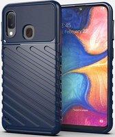 Samsung Galaxy A20e Twill Thunder Texture Back Cover Blauw