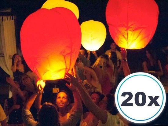 20 x Gekleurde Wensballonnen vliegende papieren lantaarns ufo ballon zweeflantaarn: : VOLANTERNA®