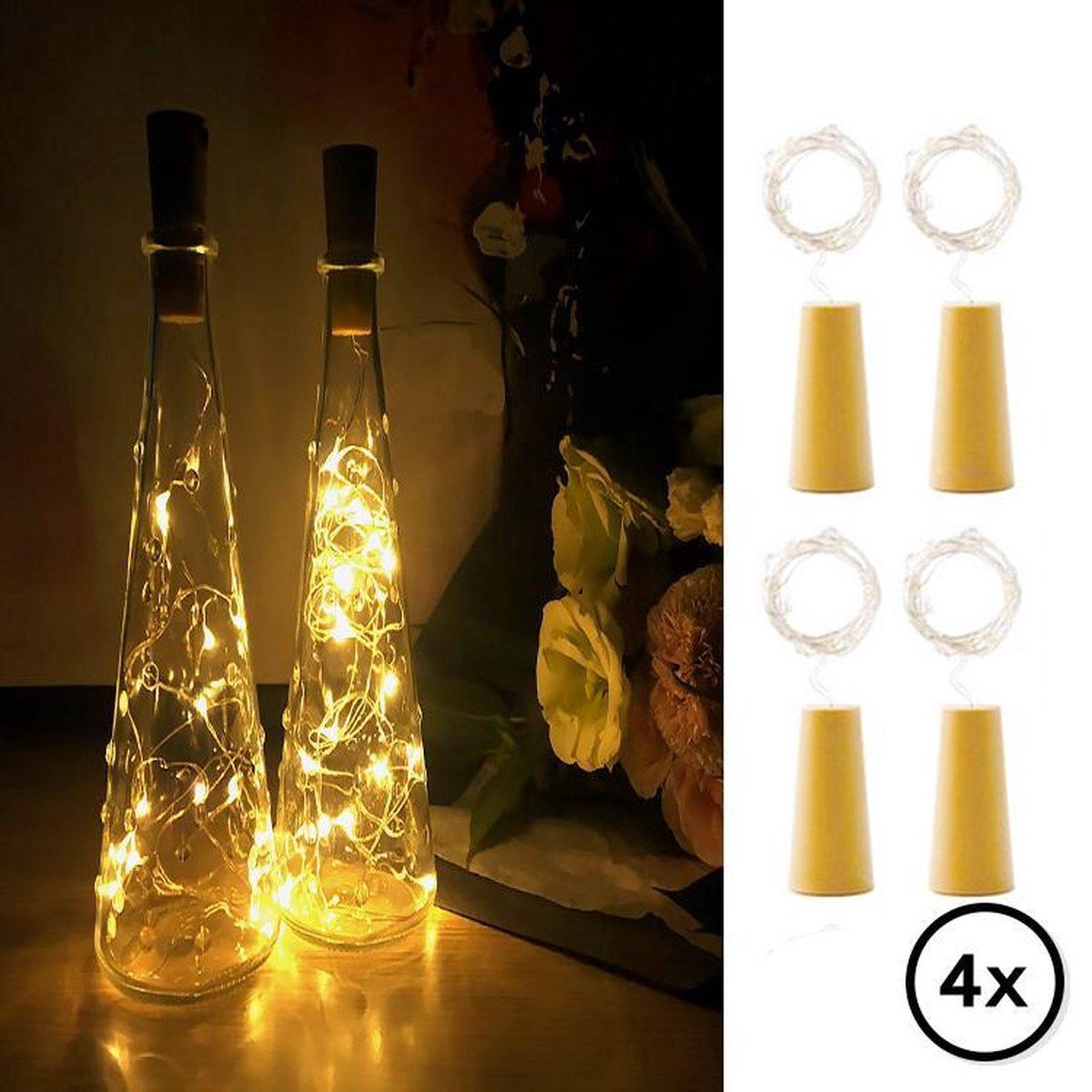 Flesverlichting - Set van 4 incl. Batterijen - Flessenlicht - Kurk verlichting