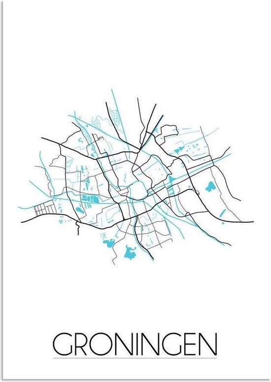 Plattegrond Groningen Stadskaart poster DesignClaud - Wit - B2 poster