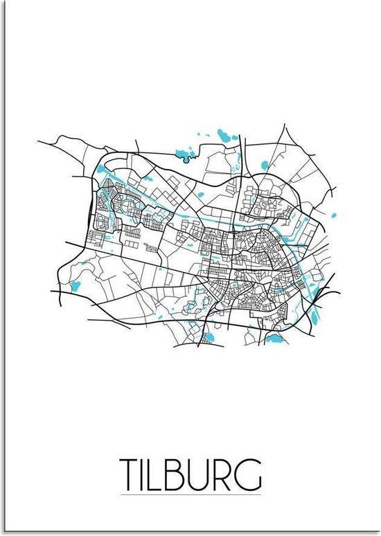 Plattegrond Tilburg Stadskaart poster DesignClaud - Wit - A4 + fotolijst wit