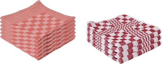 9x Rode theedoek en handdoek 65 x 65 cm / 50 x 50 cm - Huishoudtextiel - Afdroogdoek / keukendoek / vaatdoek