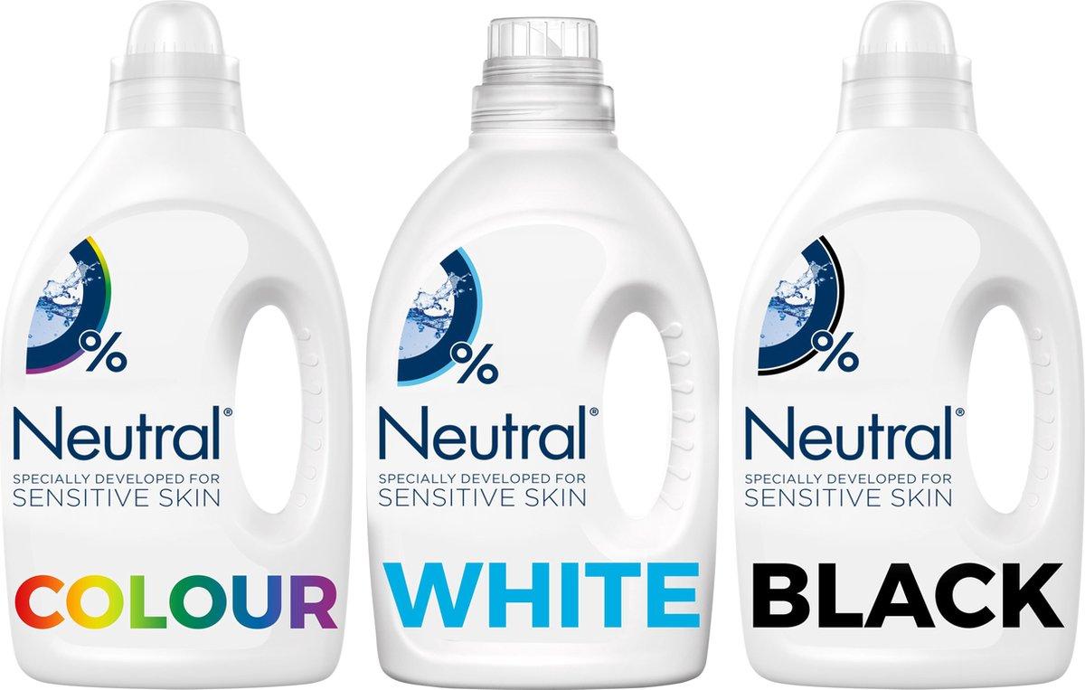 Neutral Wasmiddel Wit. Kleur en Zwart Parfumvrij - 3 x 20 wasbeurten - Voordeelverpakking