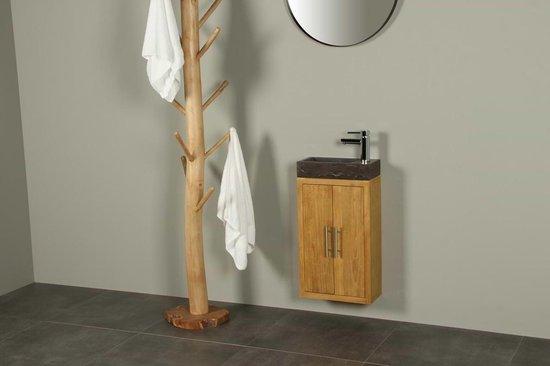 Toiletmeubel manuk teakhout met hardstenen wasbakje