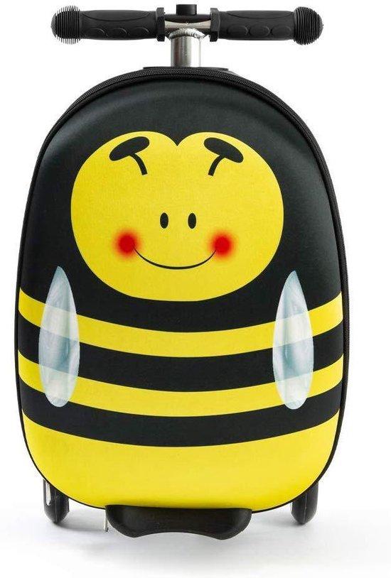 Rolkoffer Trolley voor Kinderen | Geel | Trolley | Tas kind | Bagagekoffer | Step jongen | Vliegtuig Nekkussen | Step met 3 wielen | FDBW | Koffer handbagage  - 50 kilo - Bouncy Box 40x20x25 cm + Nekkussen Vliegtuig
