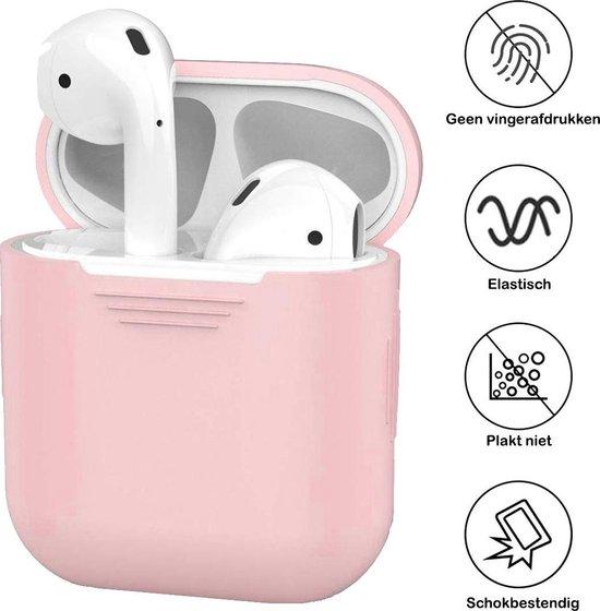 Siliconen Bescherm Hoesje Cover voor Apple AirPods 1 Case - Licht Roze