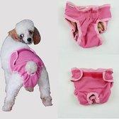 Hondenbroekje - luier voor teef - loopsheid - ongesteldheid - wasbaar - PINK - MEDIUM