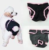 Hondenbroekje - luier voor teef - loopsheid - ongesteldheid - wasbaar - BLACK - LARGE