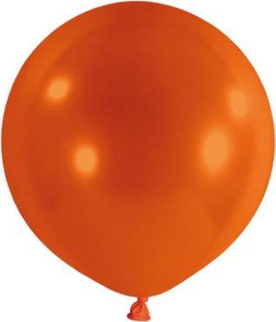 Mega ballon XXL 180cm oranje inclusief sluitclip