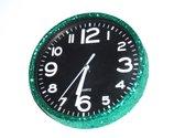 Glitter klok Groen/Zwart 30cm