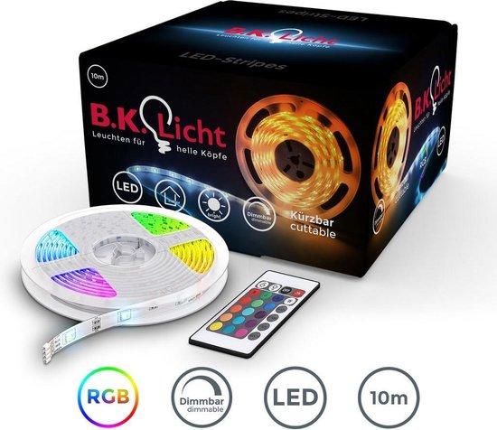 B.K.Licht LED strip 10 meter - lichtstrip met 16 kleuren - dimbaar - incl. afstandsbediening - zelfklevend