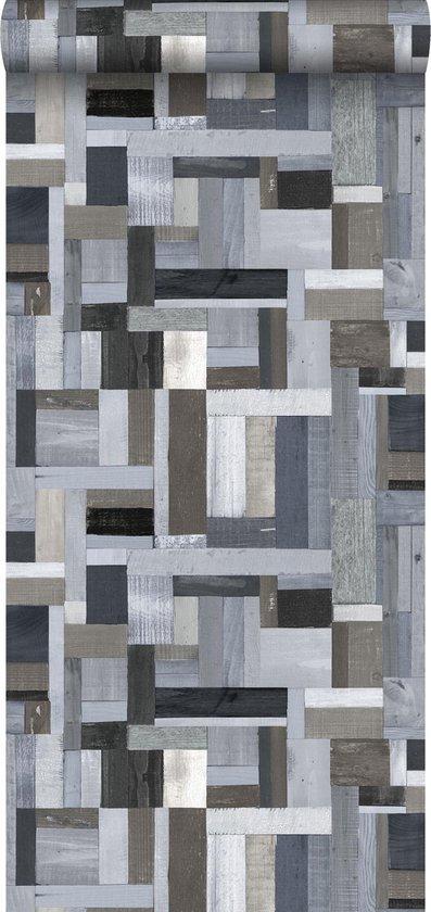 ESTAhome behang sloophout blauw en grijs - 138517 - 53 x 1005 cm