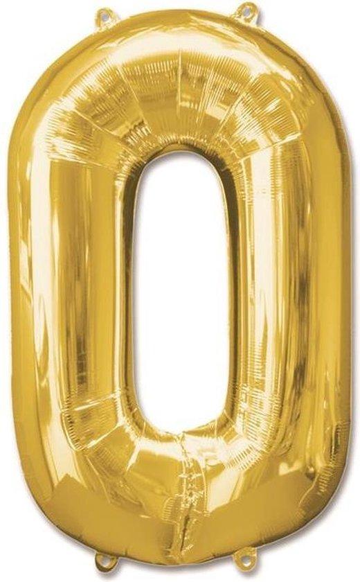 Haza Original Folieballon Cijfer 0 Goud 92 Cm