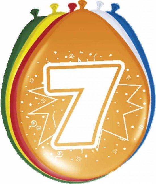 Ballonnen ster 30 cm: 7 jaar - 8 stuks (08207)