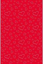 Rode Loper met Witte Hartjes Valentijnsdag 4,5mtrx60cm