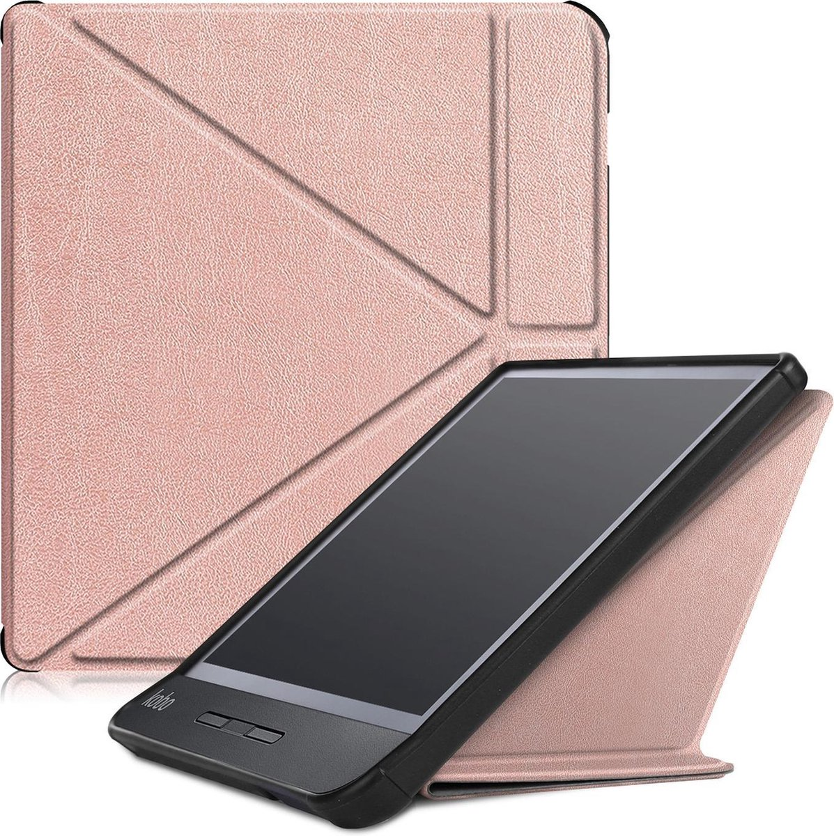 Kobo Libra H2O hoesje - Tri-Fold Book Case - Ros  Goud