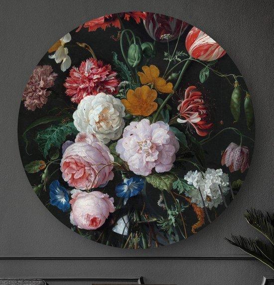 HIP ORGNL Stilleven met bloemen in een glazen vaas Heem | rond schilderij | ronde oude meester | ⌀  80 cm | wanddecoratie