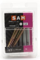 4x SAM Kozijnplug + Houtdraadbout 10x100mm  L2 817872