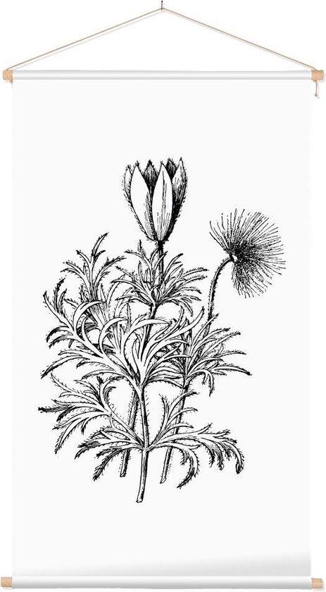 Textielposter Botanisch Pulsatilla Zwart-Wit (Pasque Flower) - 40 x 70 cm